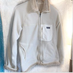Patagonia faux fur lined beige fleece Sz Small